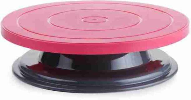 Niyara Enterprise Premium quality cake turntable with premium combination of colour pink and black 360 Degree Rotating Cake Stand Platform Cake Decorating Revolving Turntable Plastic Tray free food grade plastic and White divinext Round Rotating Revolving Cake Sugarcraft Turntable Decorating Stand Platform cake table Plastic Cake Server