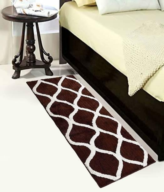 Asha Home Decor Brown, White Polyester Carpet