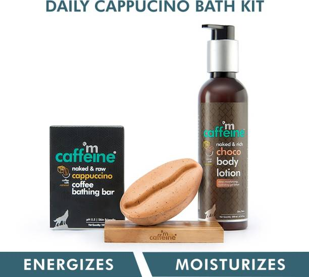 MCaffeine Daily Cappuccino Bath Kit   Free Handcrafted Bean Tray   Polishes, Moisturizes   Bathing Bar Soap, Body Lotion   Mineral Oil Free
