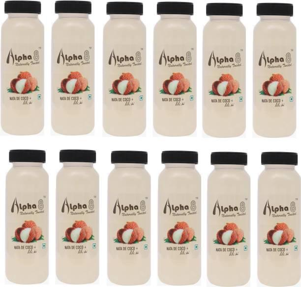 ALPHA 8 Litchi Juice (12 x 200ml) Natural Energizer & Immunity Booster, Healthy Juice, Real Natural Taste