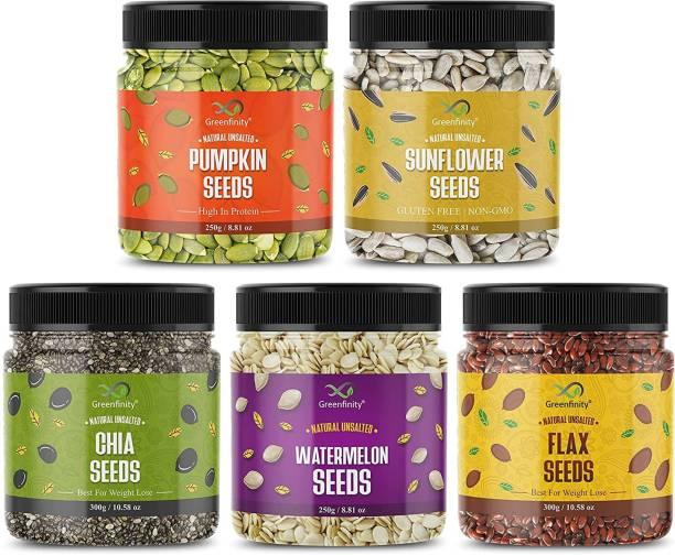 GreenFinity Raw Pumpkin - 250g, Sunflower - 250g, Watermelon Seeds - 250g, Flax - 300g, Chia Seeds - 300g | Immunity Combo | All Premium