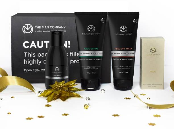 THE MAN COMPANY De Tan Face Care Kit for Men with Activated Charcoal Peel off Mask, Scrub, Face Wash & Talc Perfume | Anti Pollution, Deep Cleansing | Blackheads Remover & Tan Removal