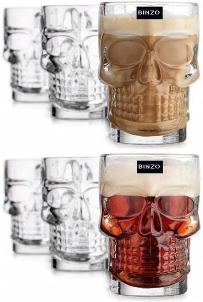 BINZO (Pack of 6) Skull Shape Beer Mug with Handle Glass Set