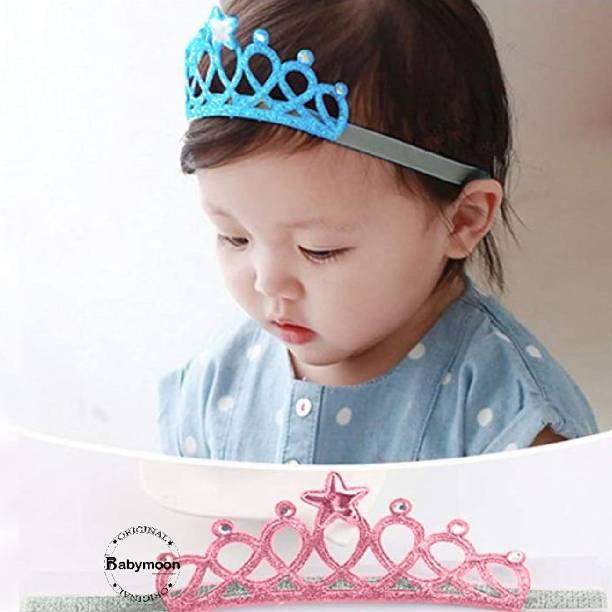 BABYMOON Baby Girl Rhinestone Crown Headbands Toddler Princess Headband Hair Accessories Glittering, Baby Photography Props (Pink) Hair Band