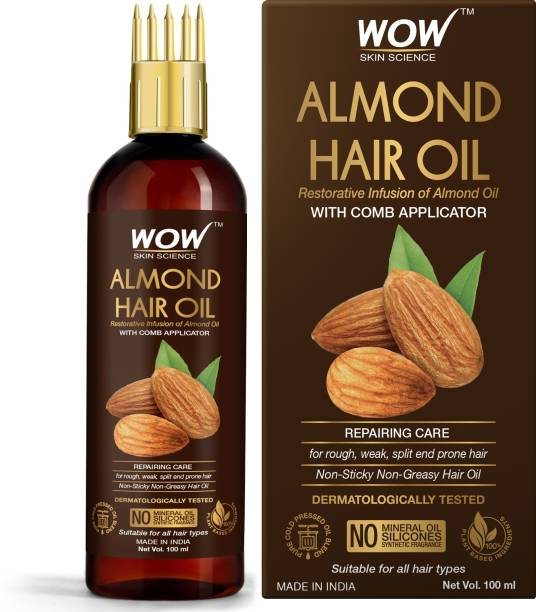 WOW SKIN SCIENCE Almond Hair Oil - infused with Almond Oil - with Comb Applicator - Non Sticky & Greasy Hair Oil - No Mineral Oil, Silicones, Synthetic Fragrance - 100mL Hair Oil