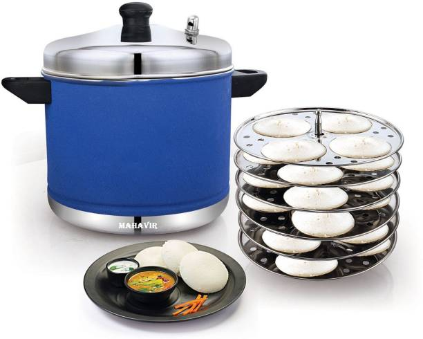 Mahavir Stainless Steel 6 Plates Idly Cooker Pot,Induction and Gas Stove Compatible Idli Maker(24 Idlies)Blue Colored Induction & Standard Idli Maker