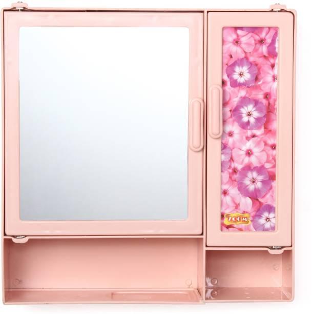 Zahab Double Door Bathroom Cabinet With Mirror and Shelf 35 x 10 x 35 cm Pink Dual Mount Medicine Cabinet
