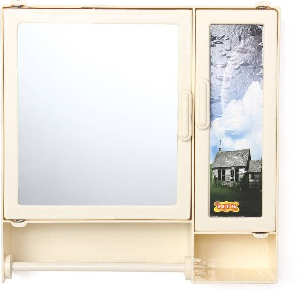 Limit Less Decor - style Your Space Plastic Glossy Finish Two Door Bathroom Cabinet with Mirror Rod and Shelf (Ivory) Dual Mount Medicine Cabinet