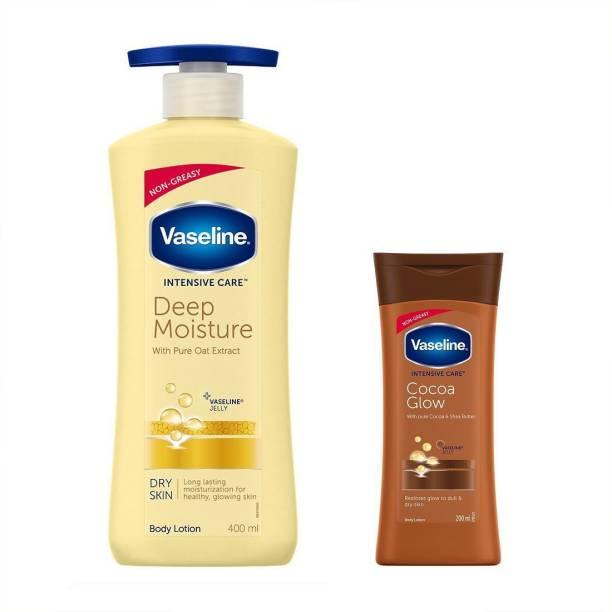 Vaseline Intensive Care Deep Moisture Body Lotion 400 ml + Intesive Care Cocoa Glow Body Lotion 200 ml