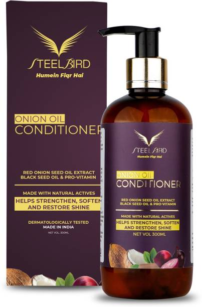 Steelbird Hair Care Onion Conditioner With Red Onion Seed Oil Extract, Black Seed Oil & Pro-Vitamin B5 - No Parabens, Mineral Oil, Silicones, Color & Peg - 300 ml