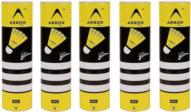 IRIS Badminton Medium Speed Nylon Shuttle Cock (5 Boxes, Pack of 6) Nylon Shuttle  - Green