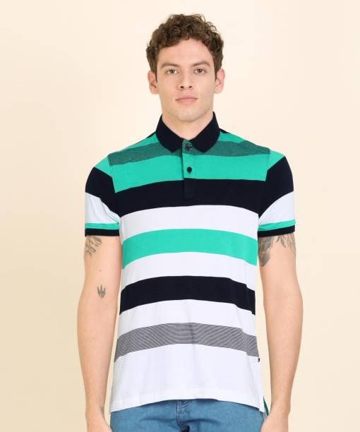 PARX Striped Men Polo Neck Multicolor T-Shirt