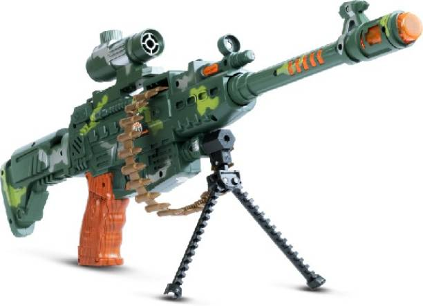 Miss & Chief Musical Army Style Toy Gun for Kids with Music, Lights and Laser Light Guns & Darts