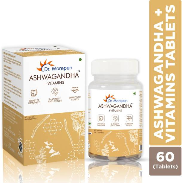 Dr. Morepen Ashwagandha + Vitamin Tablets | Ayurvedic Energy & Immunity Booster | Stress Reliever Supplement