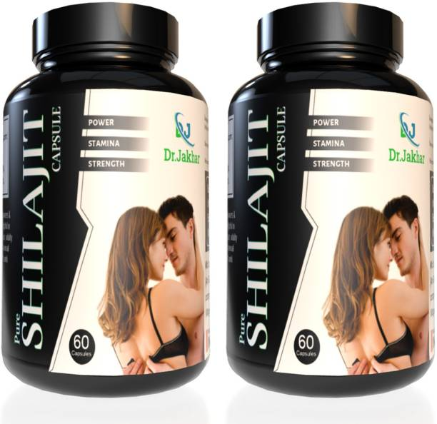 Dr. Jakhar Pure Shilajit Capsules 100% Ayurvedic Real Shilajit for Power Stamina, Strength,Vigour and Health , Vitality , Muscle Building , & Boost Energy for Men & Women