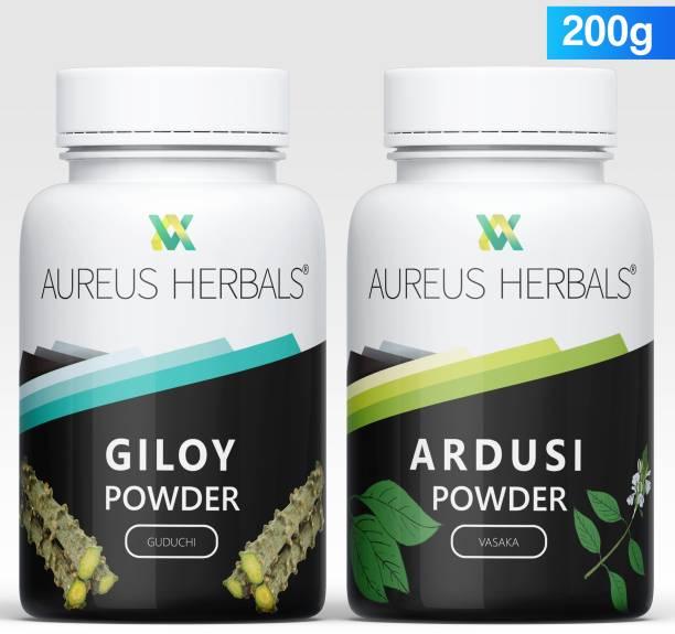 Aureus Herbals Giloy | Tinospora Cordifolia |Guduchi | Immunity Wellness + Ardusi |Vasaka ,Malabar Nut, Adoosa| Adhatoda zeylanica Powder - 100% Organic |Drinkable and Eatable