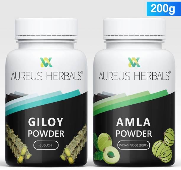 Aureus Herbals Giloy | Tinospora Cordifolia |Guduchi | Immunity Wellness + Amla |Indian Gooseberry| Phyllanthus Emblica Powder - 100% Organic Full of Vitamin C |Drinkable and Eatable