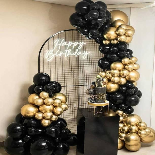 Bash N Splash Solid Black Metallic & Gold Chrome Balloon Garland Party Decoration With Golden Chrome balloon with pump Glue Dot & Arc Strip (Pack of 153) Balloon