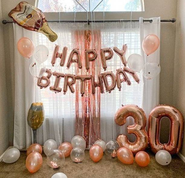 Bash N Splash Solid Rose Gold Happy birthday Balloon Decoration Rose Gold & White 30th Birthday Number balloon with confetti & Glue dot (Pack of 40) Letter Balloon