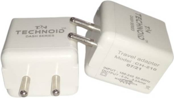 TECHNOID CH-210, 3.5A Dash Series 3.4 A Multiport Mobile Charger with Detachable Cable