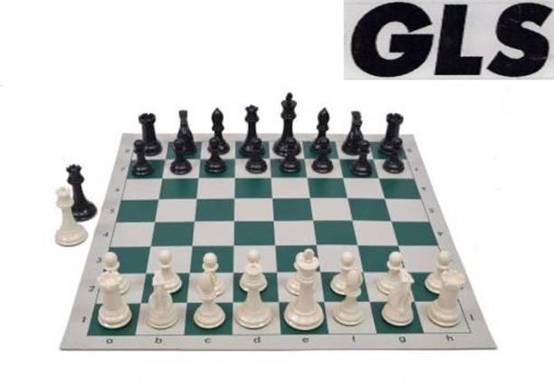 GLS Medium Size Foldable Vinyl Chess Board Set 32 Soild Coins Pawns(In Vinyl Cover) 24 cm Chess Board