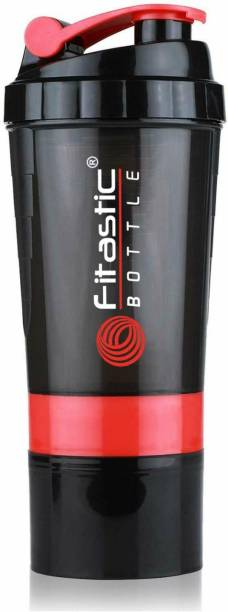Fitastic Smart Protein Shaker Bottle for gym with 2 Storage Extra Compartment 500 ml Shaker