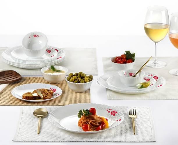 cello Pack of 18 Opalware Dazzle 18pcs Dinner Set -Scarlet Bliss Dinner Set
