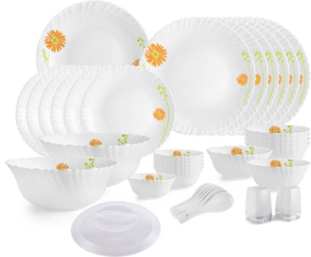 cello Pack of 36 Opalware Livid Lilac Dinner Set