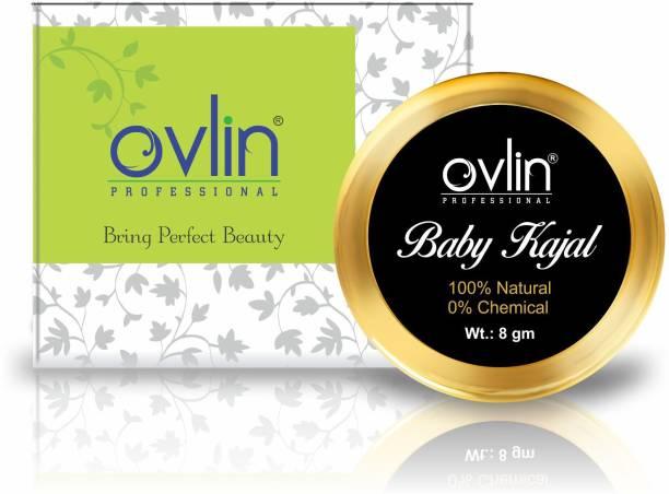 Ovlin BABY KAJAL 100% NATURAL & CHEMICAL FREE PURR ORGANIC BABY KAJAL (NATURAL BLACK , 8G)