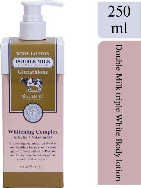 SCENTIO Double Milk Triple White Organic Body Lotion 250 ML (Made In Thailand). Quick Absorbing and contains Glutathione, Arbutin & Vitamin B3 (Whitening Complex). Non Greasy and works like Serum.