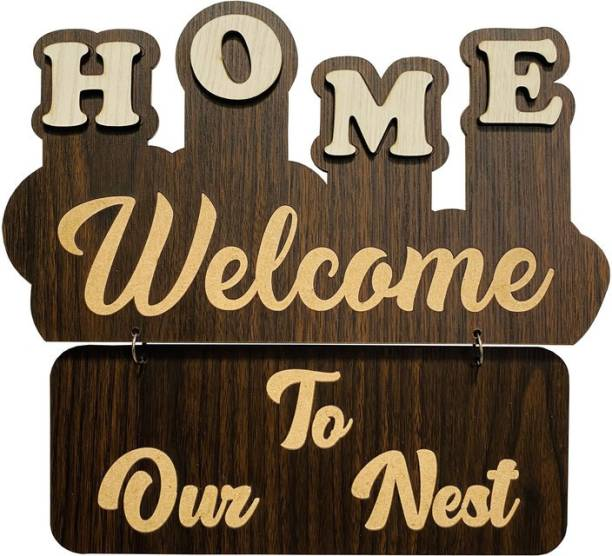 P Arts Wooden Welcome Board Name Plate