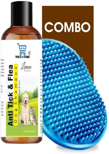 THE DDS STORE Anti Tick & Flea Dog Shampoo with Lemon-200 ml with Bath Brush Free ( Multi-color ) Flea and Tick, Anti-dandruff, Anti-fungal, Anti-itching, Conditioning, Whitening and Color Enhancing Lemon Dog Shampoo