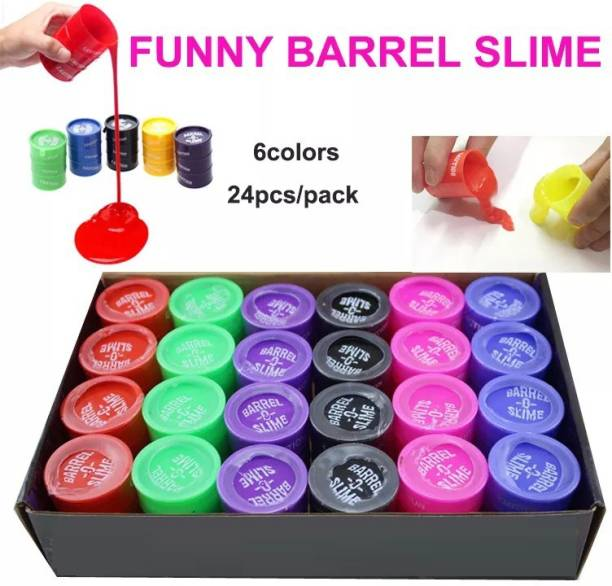 OREE Non-Sticky Barrel Colorful Sparkling Glittery Slime for Kids Pack of 24 Multi color Putty Toys Multicolor Putty Toy