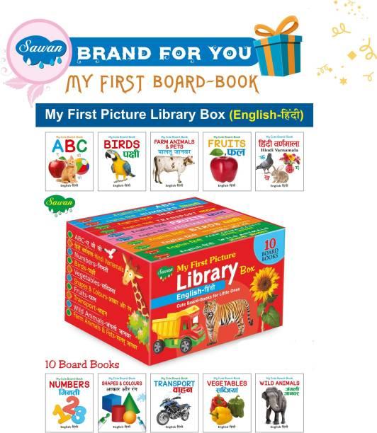 Books For Kids 3 Years Old Board Book Box English-Hindi Set Of 10 Board Books (Board Book, Sawan)