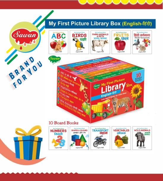 Books For Toddlers Box English-Hindi Set Of 10 Board Books (Board Book, Sawan)