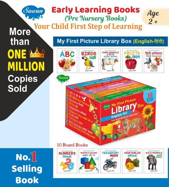 Lkg Class Picture Book Box English-Hindi Set Of 10 Board Books (Board Book, Sawan)