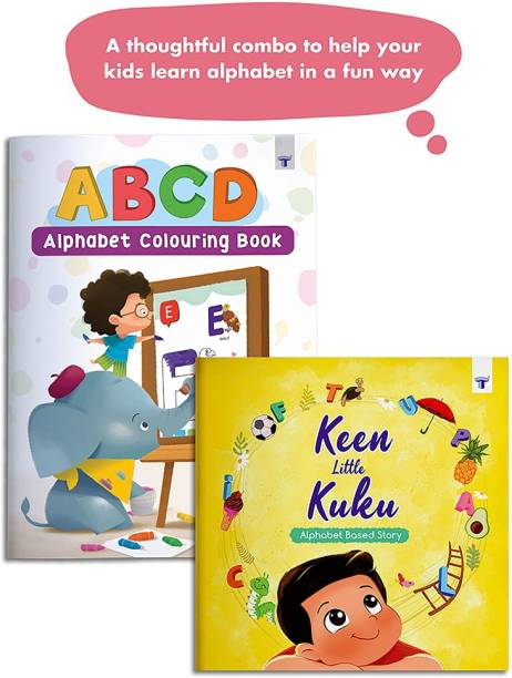 Keen Little Kuku - A Alphabet Story Book And ABCD Colouring Book For Kids | Perfect Bedtime Stories And Colour Alphabets Activity | Read And Practice| Set Of 2