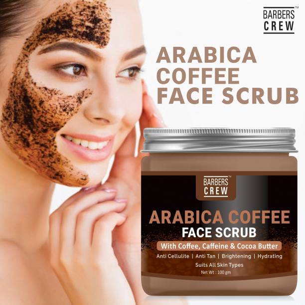 Barbers Crew Arabica Coffee Face Scrub With Coffee, Caffeine And Cocoa Butter For Face 100 Gms,Skin DETOX, EXFOLIATES POLISHES & REFINES- Scrub