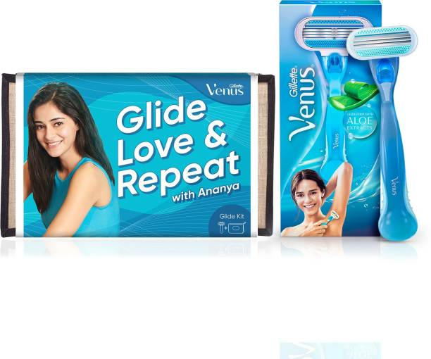 GILLETTE Venus Hair Removal Razor with Aloe Extracts + Beauty Pouch for Women
