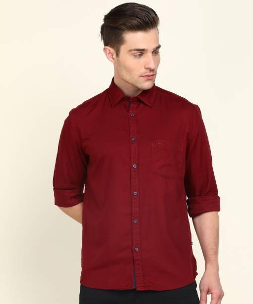 PARX Men Self Design Casual Red Shirt
