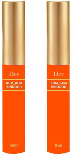 nepX Dev 100% Natural Herble Makeup Liquid Sindoor Orange with Sponge-Tip- Applicator- Long lasting Chemical free & Waterproof with Floral Pigment Orange Liquid Sindoor Pack of 2 Sindoor