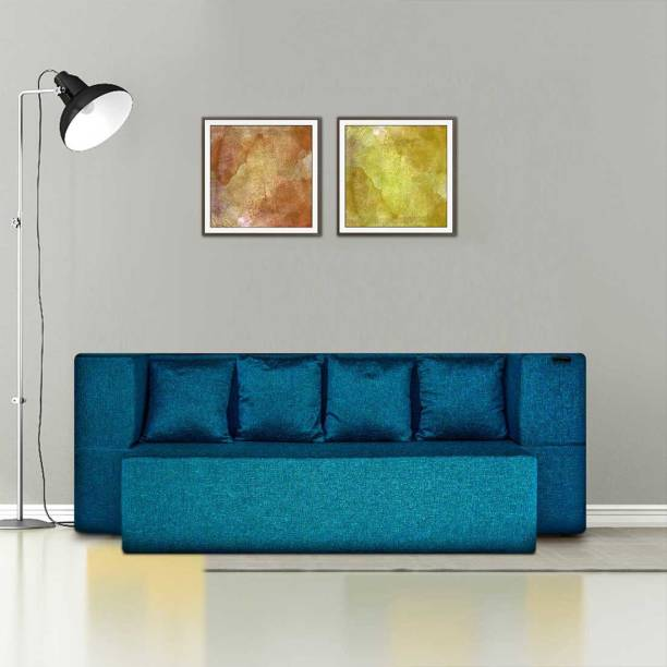 Fresh Up 4 Seater Sofa cum Bed 78x44x14 inches - Jute Fabric Washable Cover with 4 Cushions-Blue, 2 Year Warranty, Seat Height 14 inches Double Sofa Bed