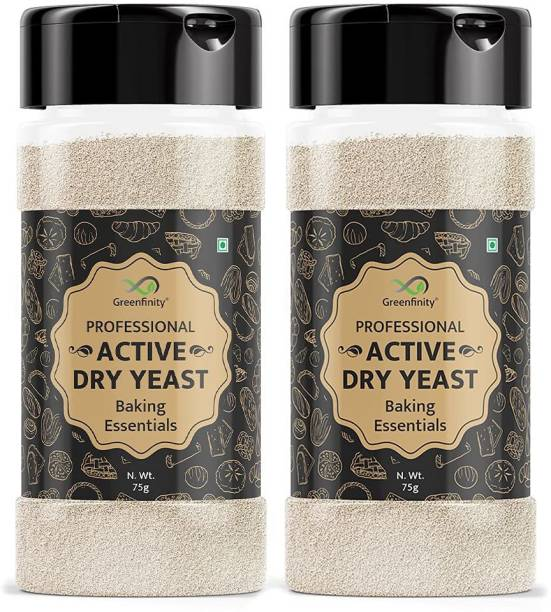 GreenFinity Professional Baker's Active Dry Yeast | Pack of 2 | 75g Each Yeast Powder