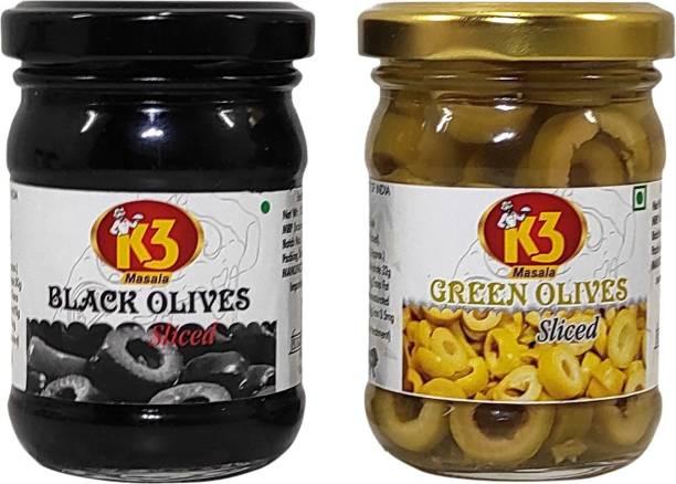 K3 Masala Green olives Sliced (120 gm) and Black olives Sliced (120 gm)(Pack of 2) Olives
