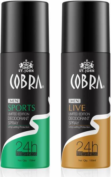 VI-JOHN Cobra Deo Live 150 ml   Cobra Deo Sports 150 ml Deodorant Spray  -  For Men