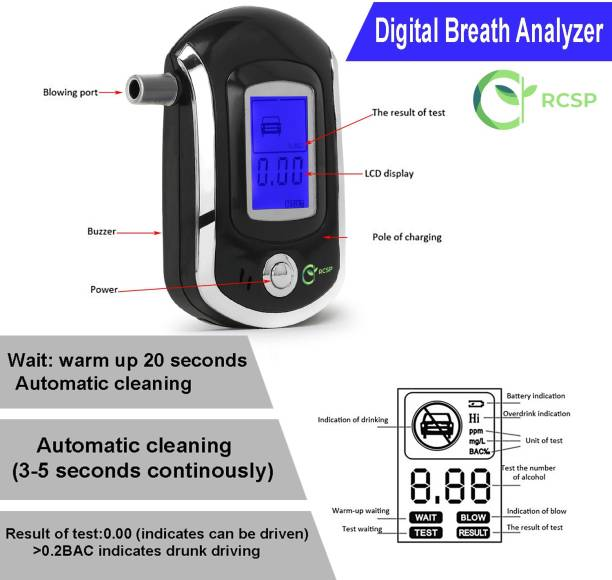 RCSP Digital Alcohol Tester Breath Analyzer ALC Smart Wine testor LCD Display Smart MCU Control Breath Test