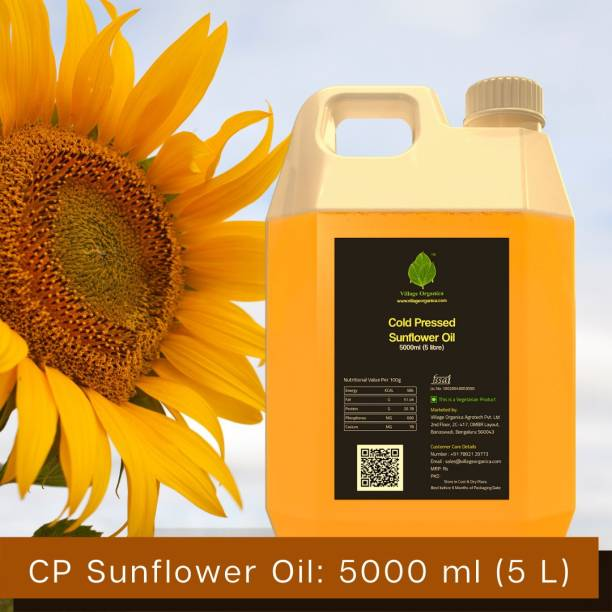 Village Organica Cold Pressed Sunflower oil   Vitamin A & Vitamin E   For Cooking   Boost immunity an promotes healthy Digestive System   Pure and Unadulterated   Sunflower Oil Can