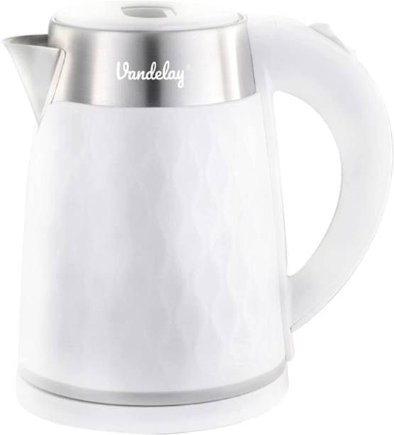 Vandelay Electric Kettle VK900 - 1.8L - 1500W Double Wall 100% Stainless Steel Food Grade PP Plastic with Cool Touch Kettle Hot Water Boiler with Overheating & Dry Boil Protection, Cordless Serving & power base with Auto Shut-Off for Tea, Coffee, Noodles Electric Kettle
