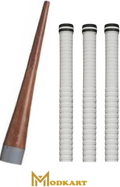 Modkart Combo of 3 Cricket Bat White Grip + One Wooden Cone (NS) Super Tacky
