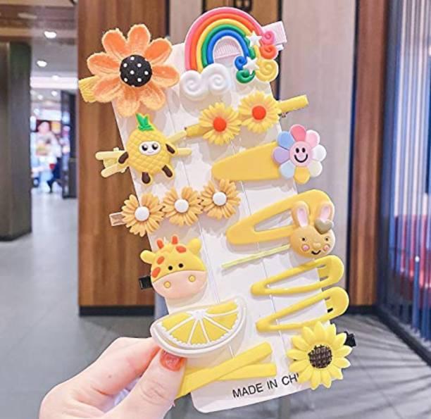 RosaStella 14 Pcs Multi Unicorn Ice Cream Hair Clips Set Baby Hairpin For Kids Girls Toddler Barrettes Hair Accessories (Yellow) Hair Clip
